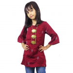 Kids 3/4 Bell Sleeve Top- Maroon(ak299a)