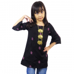 Kids 3/4 Bell Sleeve Top- Black (ak299c)