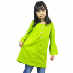 Kids Button Pleated Top – Lime Green (ak293i)